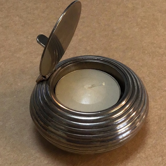 Pottery Barn Silver Travel Tea Light Candle *Good*